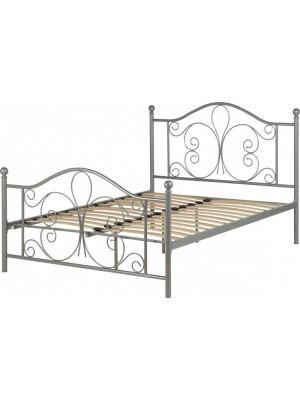 "Annabel 4'6"" Bed in Silver"