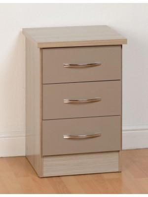Nevada 3 Drawer Bedside in Oyster Gloss
