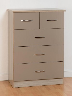Nevada 3+2 Drawer Chest in Oyster Gloss