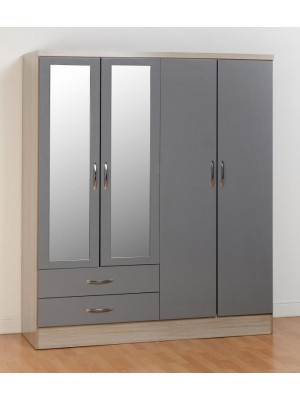 Nevada 4 Door 2 Drawer Wardrobe in Grey Gloss
