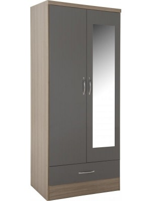 Nevada 2 Door 1 Drawer Mirrored Wardrobe in Grey Gloss