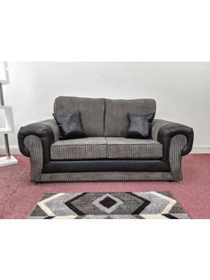 Atlanta Sofa Set (Grey Jumbo Cord / Black)