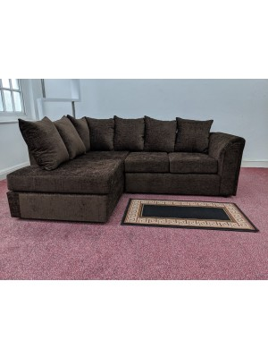 Houston Corner Sofa Set (Brown Chenille)