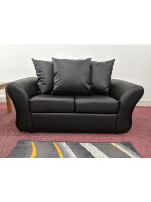 Charlotte Sofa Set (Black Faux Leather)