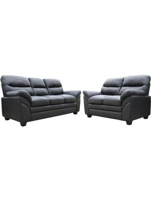 Capri 3+2 Suite in Black Faux Leather