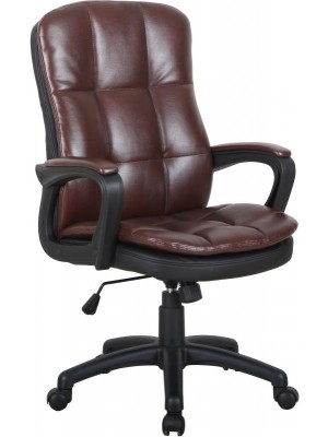 Computer Chair in Brown Faux Leather