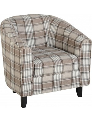 Hammond Tub Chair in Grey/Brown Tartan Fabric