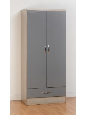 Nevada 2 Door 1 Drawer Wardrobe in Grey Gloss
