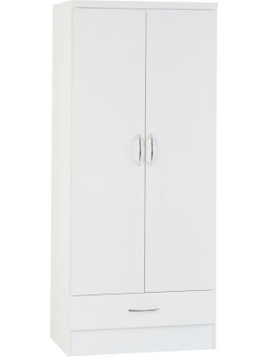 Nevada WHITE 2 door 1 drawer wardrobe