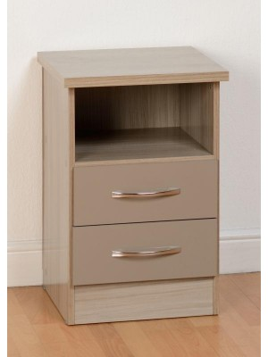 Nevada 2 Drawer Bedside in Oyster Gloss
