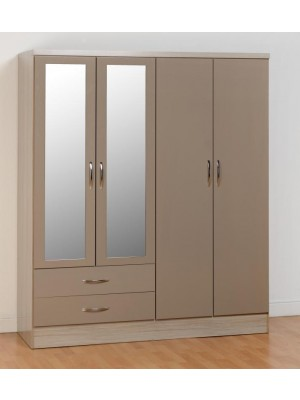 Nevada 4 Door 2 Drawer Wardrobe in Oyster Gloss