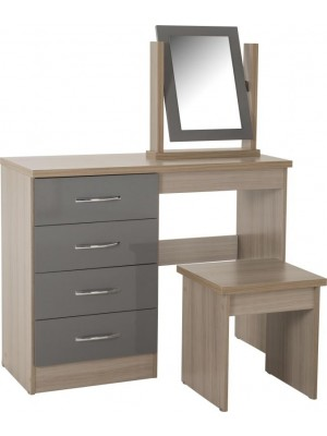 Nevada 4 Drawer Dressing Table Set in Grey Gloss