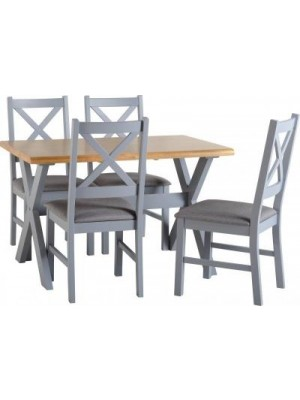 Portland Dining Set GREY + 4 Chairs