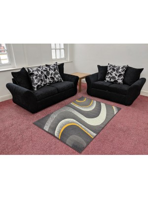 Charlotte Sofa Set (Black Chenille / Floral)