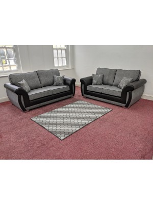 New York Sofa Set (Dundee Silver/ Black Faux Leather)