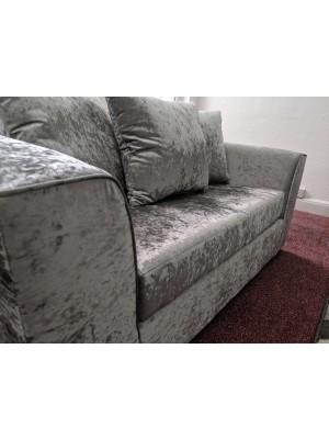 Crushed Velvet Silver 3 & 2 Seater