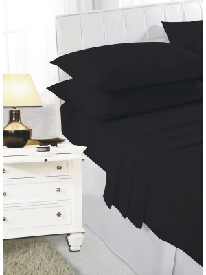 Easy care poly/cotton FLAT Sheet BLACK