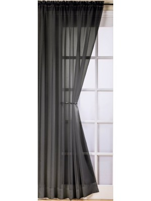 Trent Plain Voile Panel BLACK