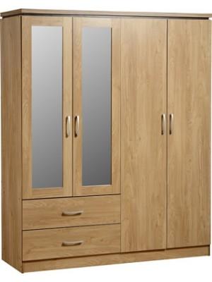 Charles 4 Door 2 Drawer Mirrored Wardrobe