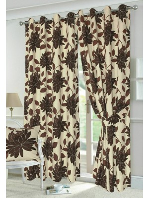 Seren Floral Curtains CHOCOLATE