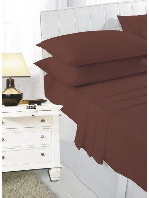 Easy care poly/cotton FITTED Sheet CHOC