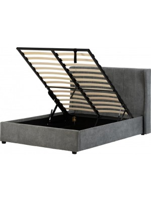 "Amelia Plus 4'6"" Storage Bed in Dark Grey Fabric"