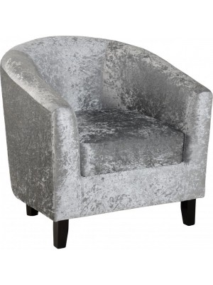 Hammond Tub Chair In Silver Crush Velvet