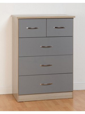 Nevada 3+2 Drawer Chest in Grey Gloss