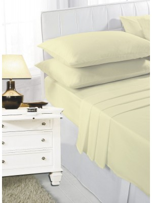 Easy care poly/cotton FITTED Sheet LEMON