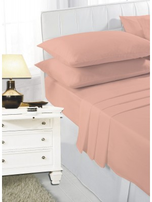 Easy care poly/cotton FITTED Sheet PEACH