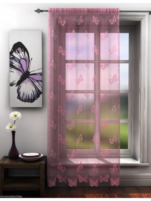 Butterfly Lace Voile Panel PINK