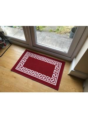 Gel Back Non-Slip Greek Key Red White