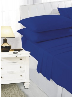 Easy care poly/cotton FITTED Sheet ROYAL BLUE