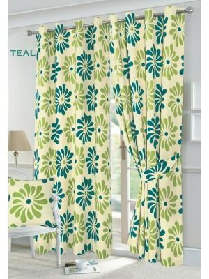 Petal Floral Curtains TEAL