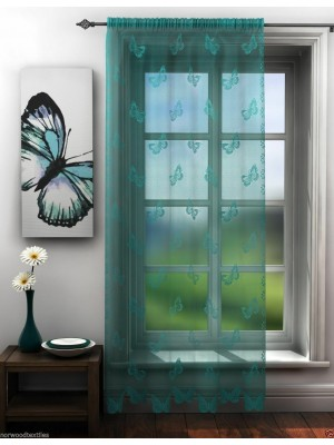 Butterfly Lace Voile Panel TEAL