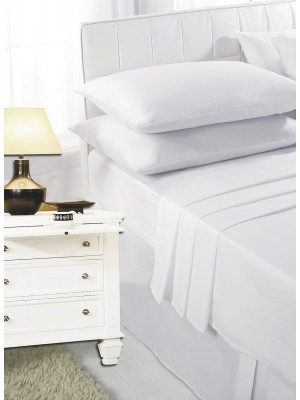 Easy care poly/cotton FLAT Sheet WHITE