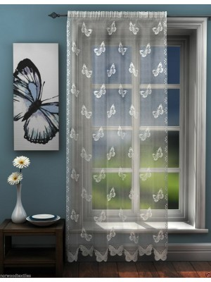 Butterfly Lace Voile Panel WHITE