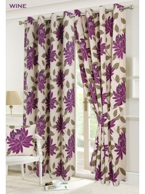 Seren Floral Curtains WINE