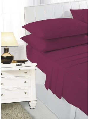 Easy care poly/cotton FITTED Sheet WINE