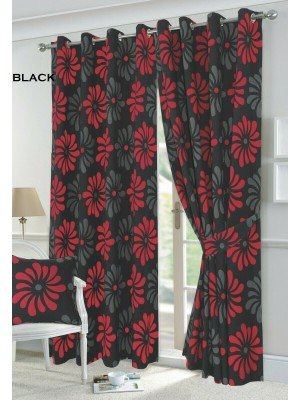 Petal Floral Curtains BLACK