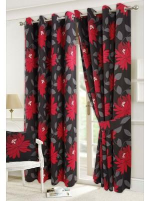 Seren Floral Curtains BLACK