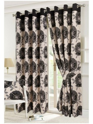Isla Floral Curtains BLACK