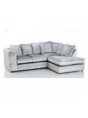 Houston Corner Sofa Set (Silver Crush Velvet)