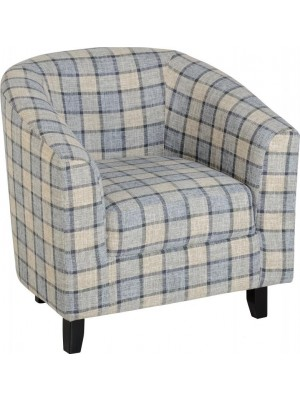 Hammond Tub Chair in Grey Check Fabric