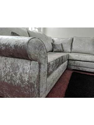 New York Large Corner Sofa (Silver Crushed Velvet)