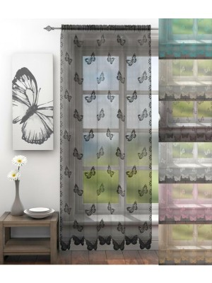 Butterfly Lace Voile Panel SILVER