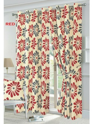 Petal Floral Curtains RED