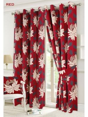 Seren Floral Curtains RED