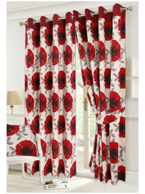Isla Floral Curtains RED