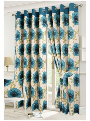 Isla Floral Curtains TEAL